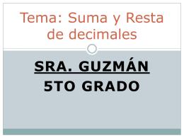 Tema: Suma y Resta de decimales