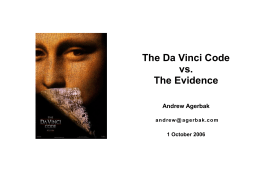 The Da Vinci Code vs. The Evidence 2 July 2006