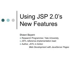JSP 2.0 and JSTL: Principles and patterns