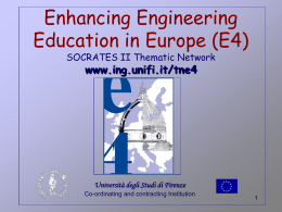 Enhancing Engineering Education in Europe (E4) …