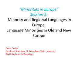 "'Minorities in Europe"" Session 5: Minority and Regional"
