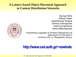 A Latency-based Object Placement Approach in Content