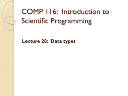 COMP 116 - Introduction to Scientific Programming