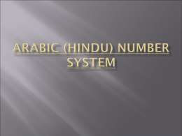 Arabic (Hindu) NumBER System