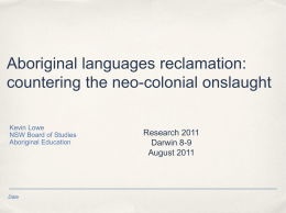 Aboriginal languages reclamation: countering the neo