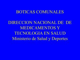 BOTICAS COMUNALES UNIDAD DE MEDICAMENTOS …