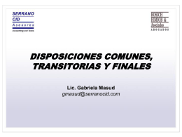 DISPOSICIONES COMUNES, TRANSITORIAS Y FINALES