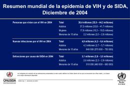 Resumen mundial de la epidemia de VIH y de SIDA, …