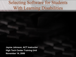 Selecting Software for Students With Learning Disabilities