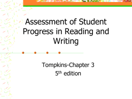 Assessment of Student Progress in Reading and Writing