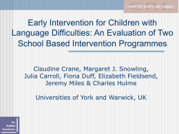Early Intervention for Children with Language Difficulties
