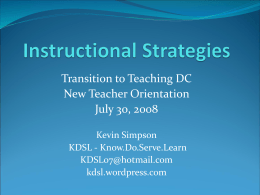 Instructional Strategies - Know.Do.Serve.Learn Weblog