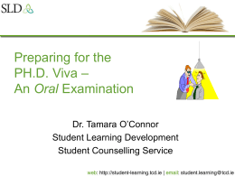 Preparing for the PH.D. Viva – An Oral Examination