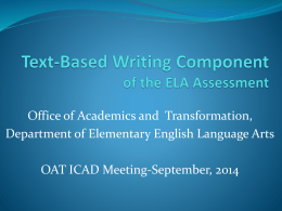 Text-Based Writing Component of the ELA Assessment