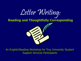 Letter Writing: Reading and Thoughtfully Corresponding