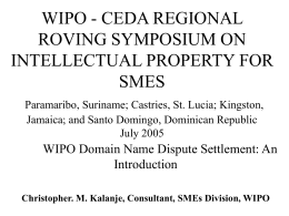 WIPO - CEDA REGIONAL ROVING SYMPOSIUM ON …