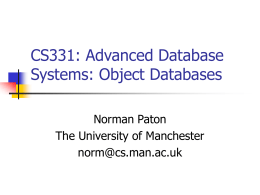 CS3311 – Advanced Database Systems