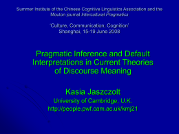 Summer Institute of the Chinese Cognitive Linguistics