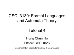 CSC3130 Tutorial 4 - Chinese University of Hong Kong