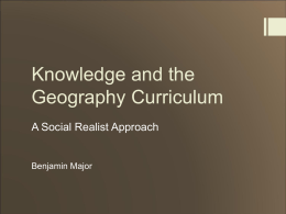 Knowledge and the Geography Curriculum
