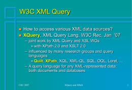 CBU Summer School '07 Queryin XML