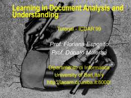 Learning in Document Analysis and Understanding