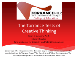 How can we measure creativity? A look at the Torrance