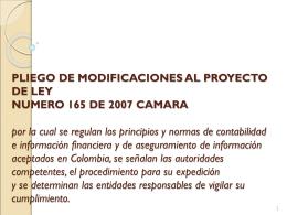 PLIEGO DE MODIFICACIONES AL PROYECTO DE LEY …