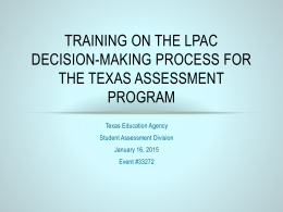 Training on the LPAC Decision