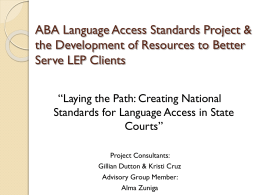 State & National Language Access Standards Update