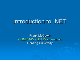 Introduction to .NET - Harding