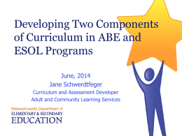Developing Two Components of Curriculum in ABE and …