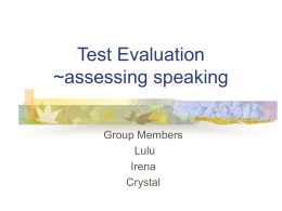 Test Evaluation ~assessing speaking