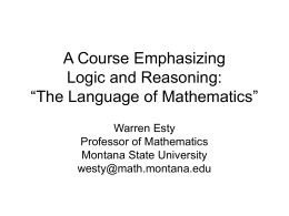 "A Course Emphasizing Logic and Reasoning: ""The …"