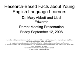 Research-Based Facts about Young English Language …