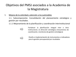 Objetivos del PMSJ asociados a la Academia de la …