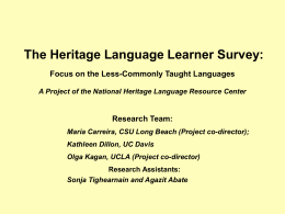 Results of UCLA's NHLRC Survey of Heritage Language …