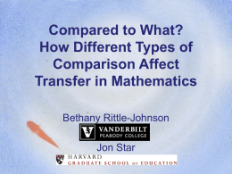 Compared to What? How Different Types of Comparison …