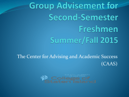 Spring 2015 Advisement - College of Staten Island