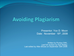 Avoiding Plagiarism - University of Maryland, Baltimore …