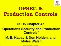 OPSEC & Production Controls