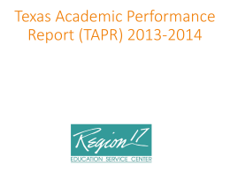 Texas Academic Performance Report Template