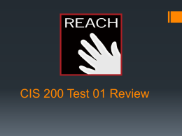 CIS 200 Test Review 1 - Resources for Academic …