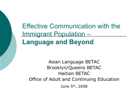 Effective Communication with Immigrant Population