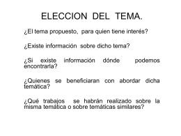 ELECCION DEL TEMA.