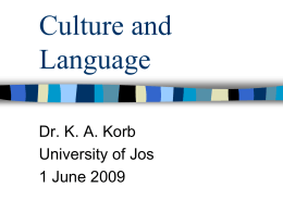 Culture and Language - Educational Psychology