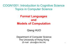 COGN1001: Introduction to Cognitive Science Topics in