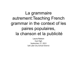 La grammaire autrement - Salt Lake City School District