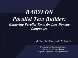 BABYLON Parallel Text Builder: Gathering Parallel Texts
