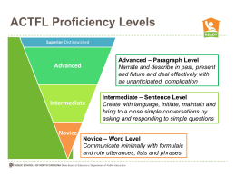 Proficiency Expectations Alphabetic Languages